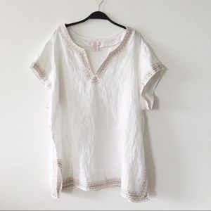 St. Tropez West White Linen Tunic NWOT